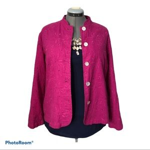 Chico's embroidered linen jacket